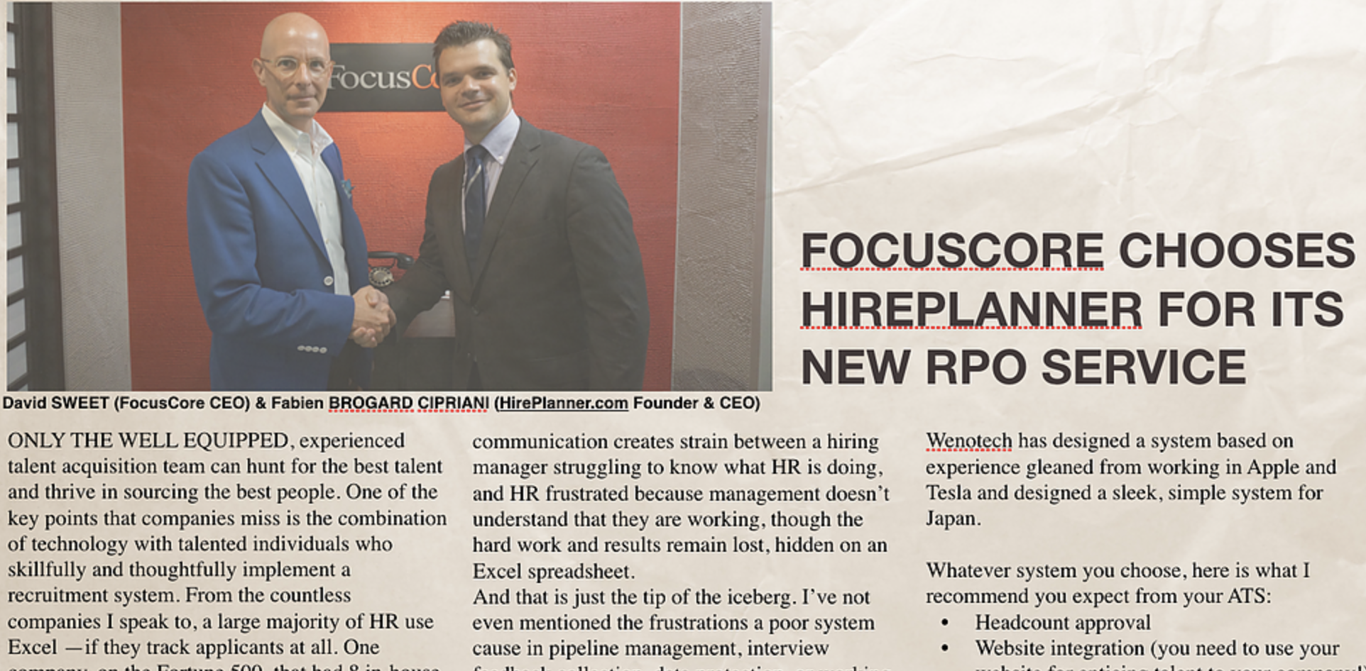 FocusCore selects HirePlanner to support its RPO business