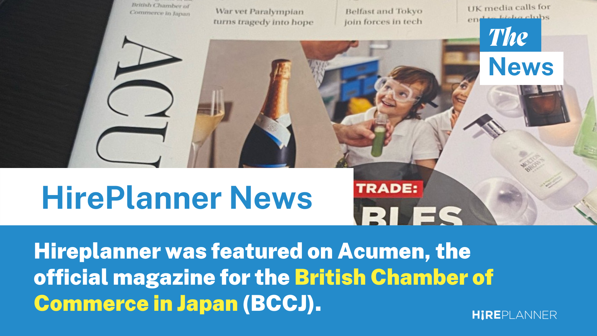 British Chamber of Commerce in Japan (BCCJ)'s Acumen magazine features HirePlanner